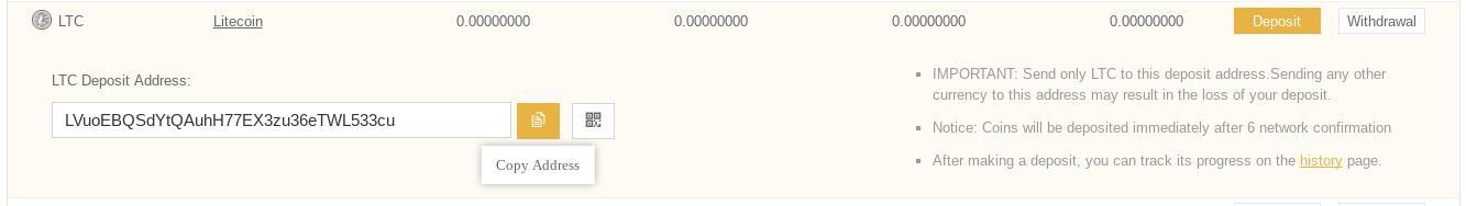 Screenshot of LTC deposit