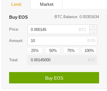 Buying EOS for a set price